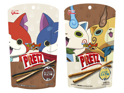 "Kawaii characters appear on ""Pretz"", ""Giant Pocky"" Strawberry taste comes with original class schedule stickers of ""Yo-kai Watch."""